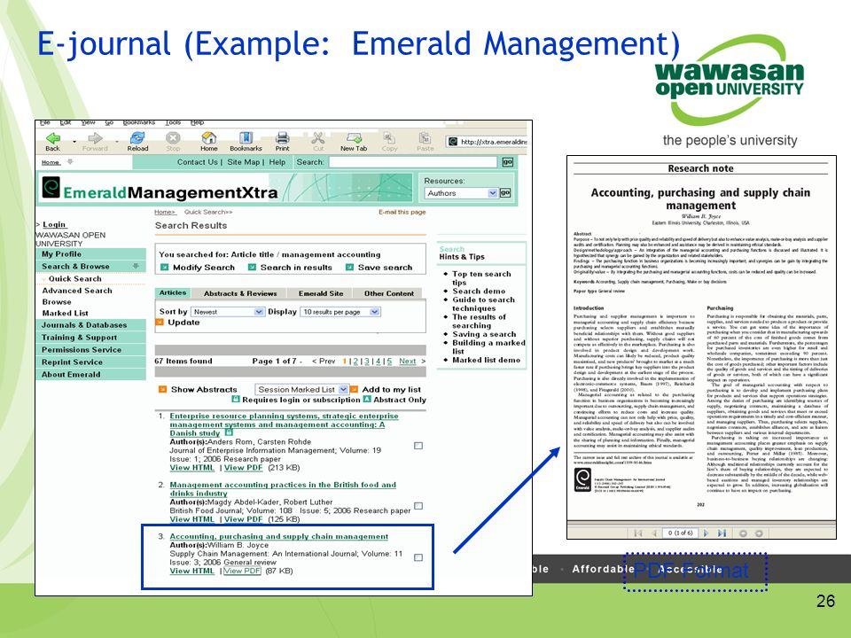 26 E-journal (Example: Emerald Management) PDF Format