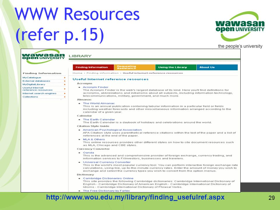 29 WWW Resources (refer p.15)