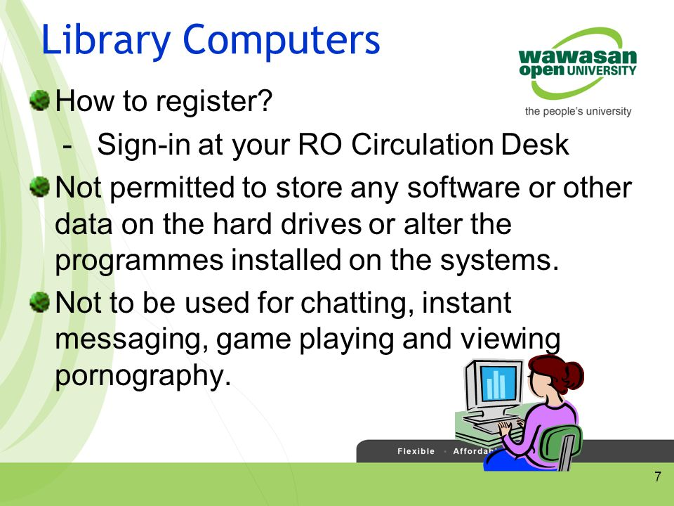 7 Library Computers How to register.