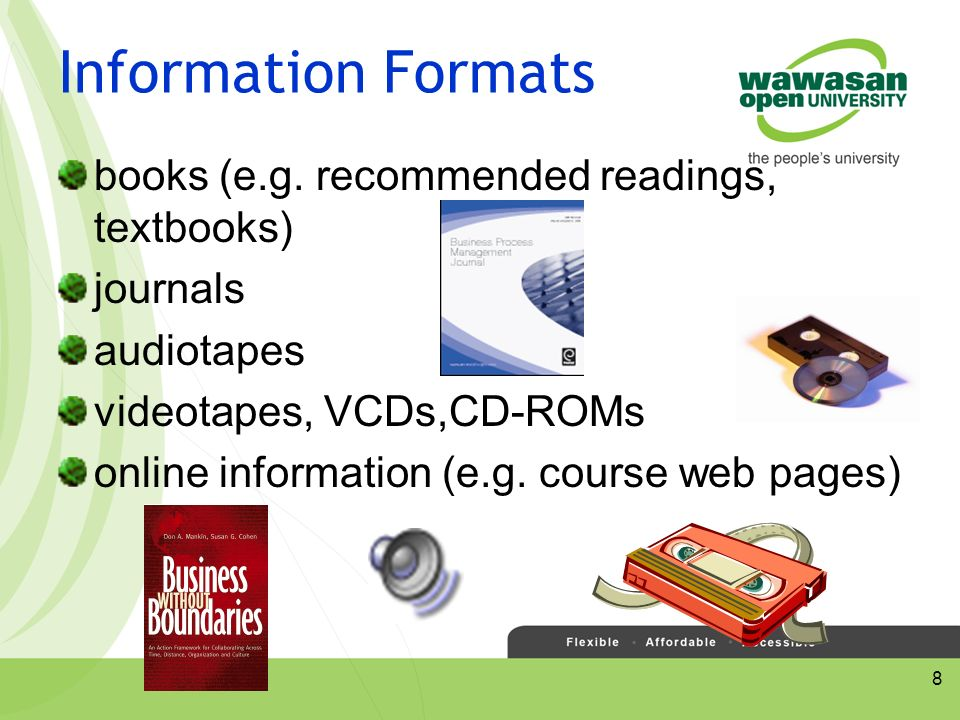 8 Information Formats books (e.g.