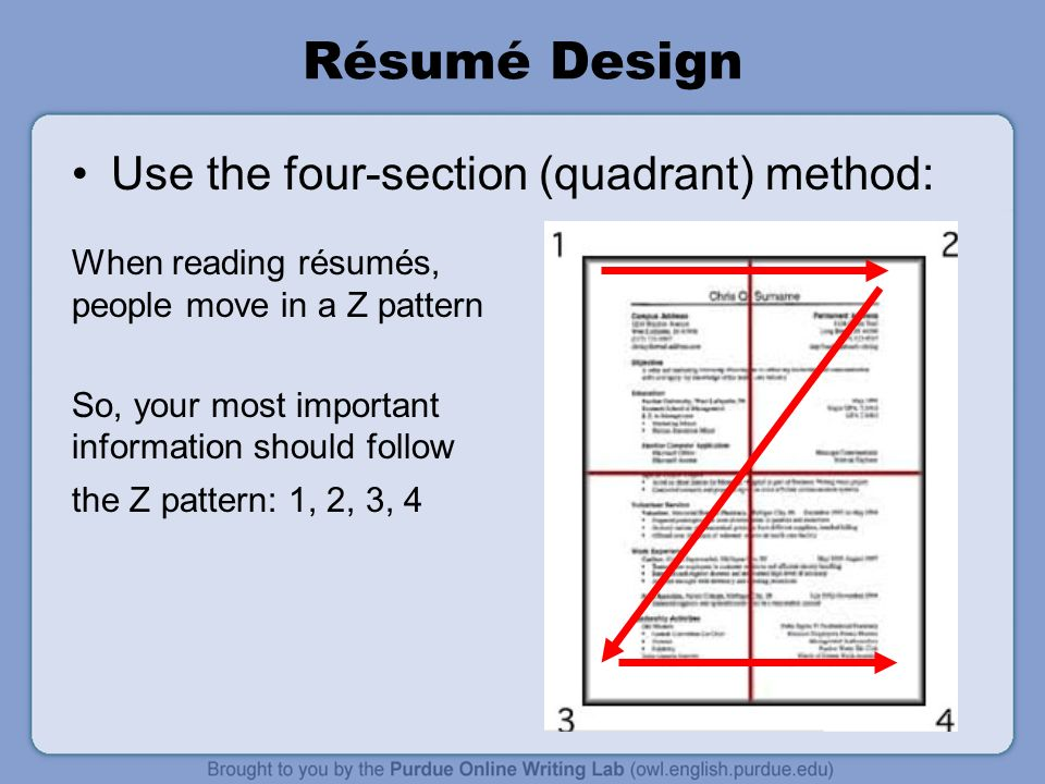 Workone rsum workshop overview this presentation will cover 19 rsum design use the four section quadrant method when reading rsums people move in a z pattern so your most important information should follow thecheapjerseys Images