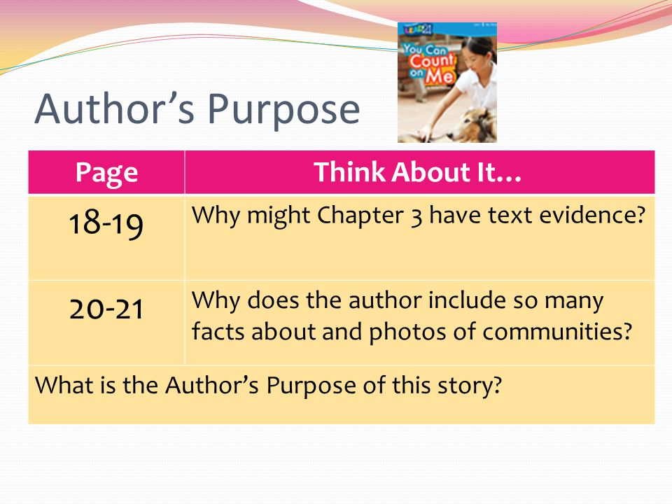 Author's Purpose PageThink About It… Why might Chapter 3 have text evidence.