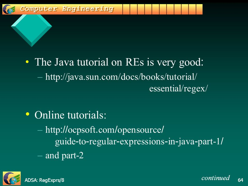 ADSA: RegExprs/ Advanced Data Structures and Algorithms Objective