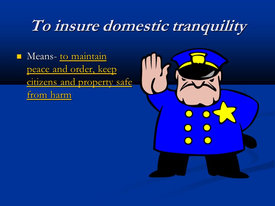 To insure domestic tranquility Means- to maintain peace and order, keep citizens and property safe from harm Means- to maintain peace and order, keep citizens and property safe from harm