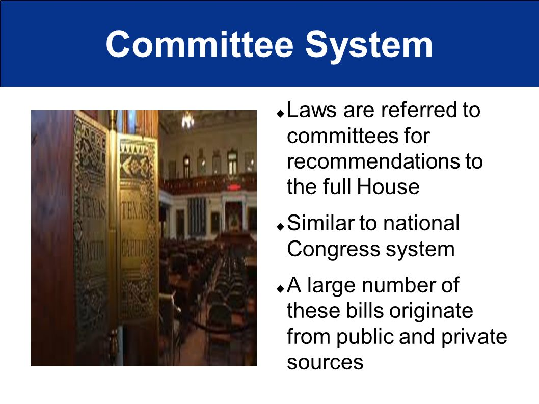Committee System  Laws are referred to committees for recommendations to the full House  Similar to national Congress system  A large number of these bills originate from public and private sources