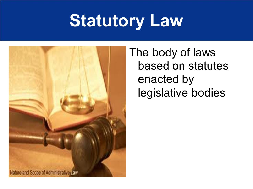 Statutory Law The body of laws based on statutes enacted by legislative bodies
