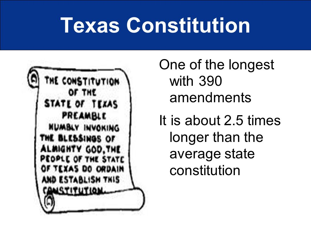Texas Constitution One of the longest with 390 amendments It is about 2.5 times longer than the average state constitution
