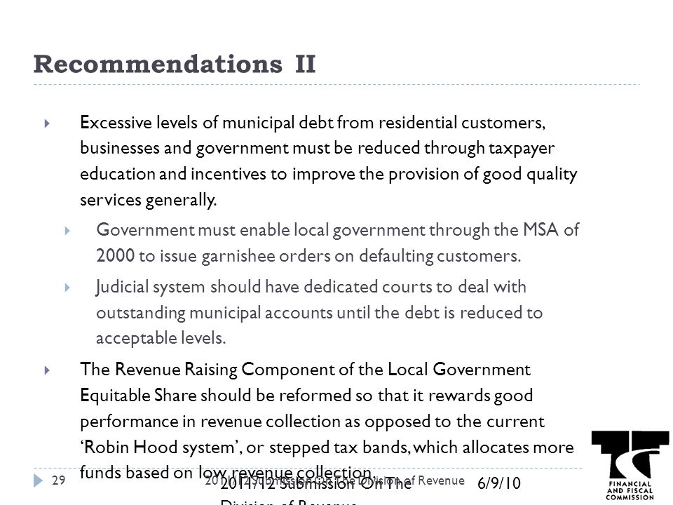 6 9 102011 12 Submission On The Division Of Revenue Recommendations II