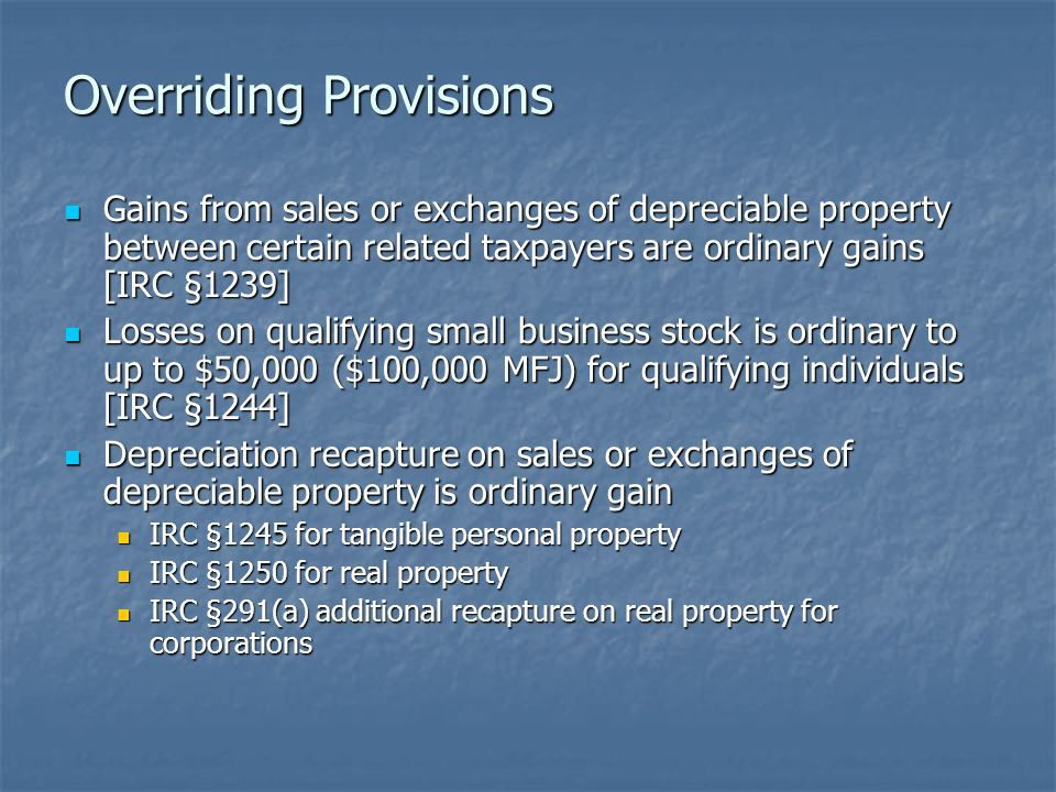 Review of Property Dispositions Dr  Richard Ott  Realized