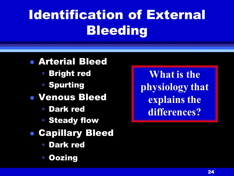24 Identification of External Bleeding l Arterial Bleed Bright red Spurting l Venous Bleed Dark red Steady flow l Capillary Bleed Dark red Oozing What is the physiology that explains the differences