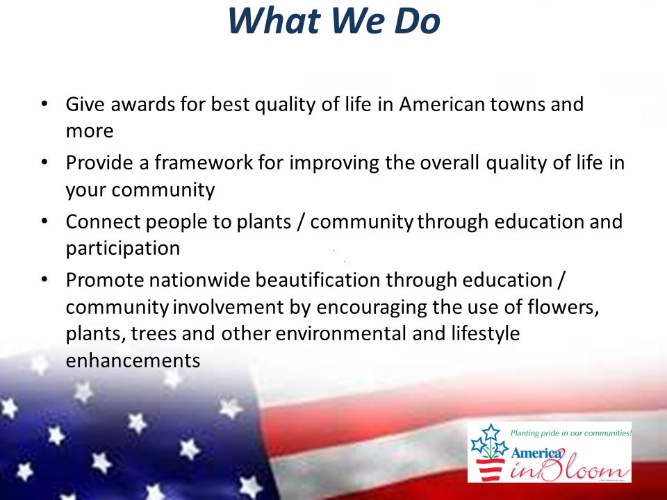 America In Bloom  What is AIB? National awards program for
