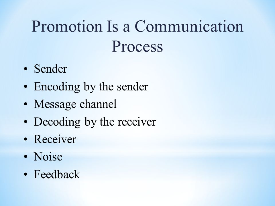 Promotion Is a Communication Process Sender Encoding by the sender Message channel Decoding by the receiver Receiver Noise Feedback
