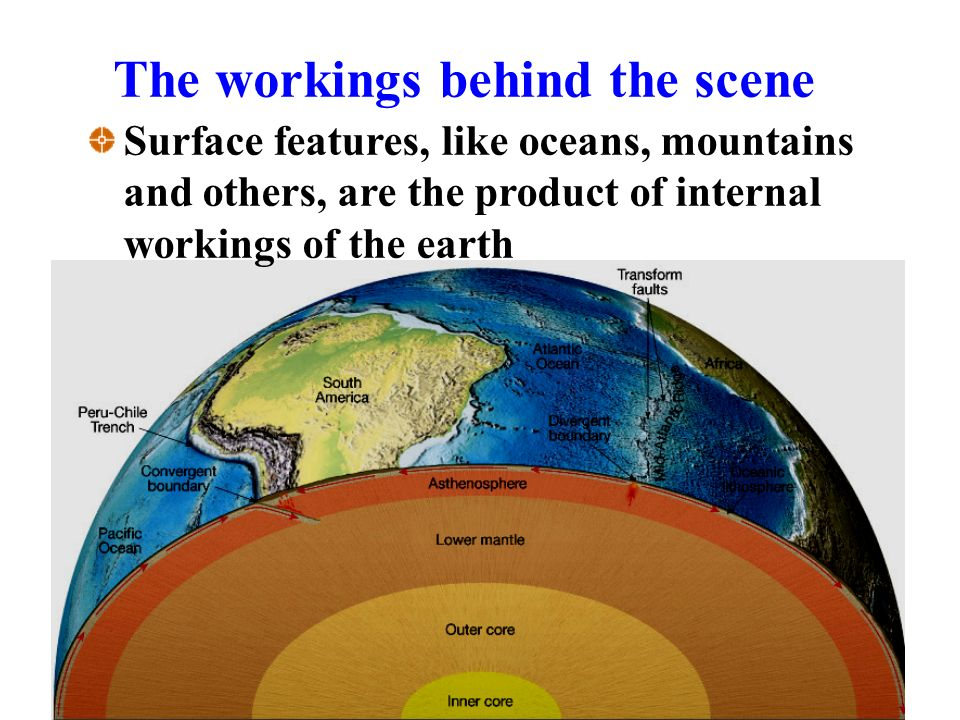 The workings behind the scene Surface features, like oceans, mountains and others, are the product of internal workings of the earth
