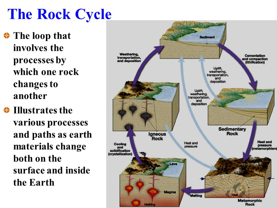 The loop that involves the processes by which one rock changes to another Illustrates the various processes and paths as earth materials change both on the surface and inside the Earth The Rock Cycle