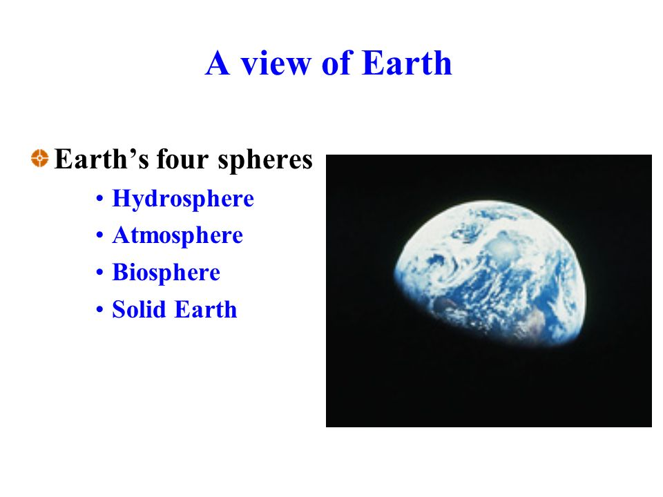 A view of Earth Earth's four spheres Hydrosphere Atmosphere Biosphere Solid Earth