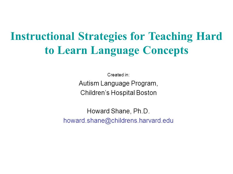 Created In Autism Language Program Childrens Hospital Boston