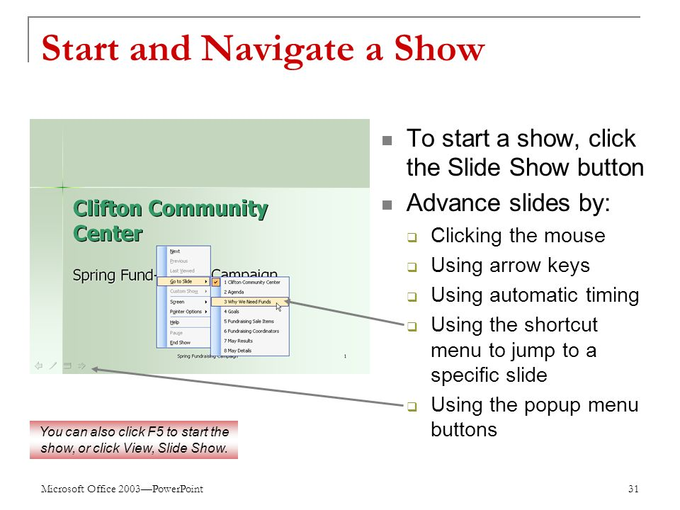 Microsoft Office 2003—PowerPoint 31 Start and Navigate a Show To start a show, click the Slide Show button Advance slides by:  Clicking the mouse  Using arrow keys  Using automatic timing  Using the shortcut menu to jump to a specific slide  Using the popup menu buttons You can also click F5 to start the show, or click View, Slide Show.