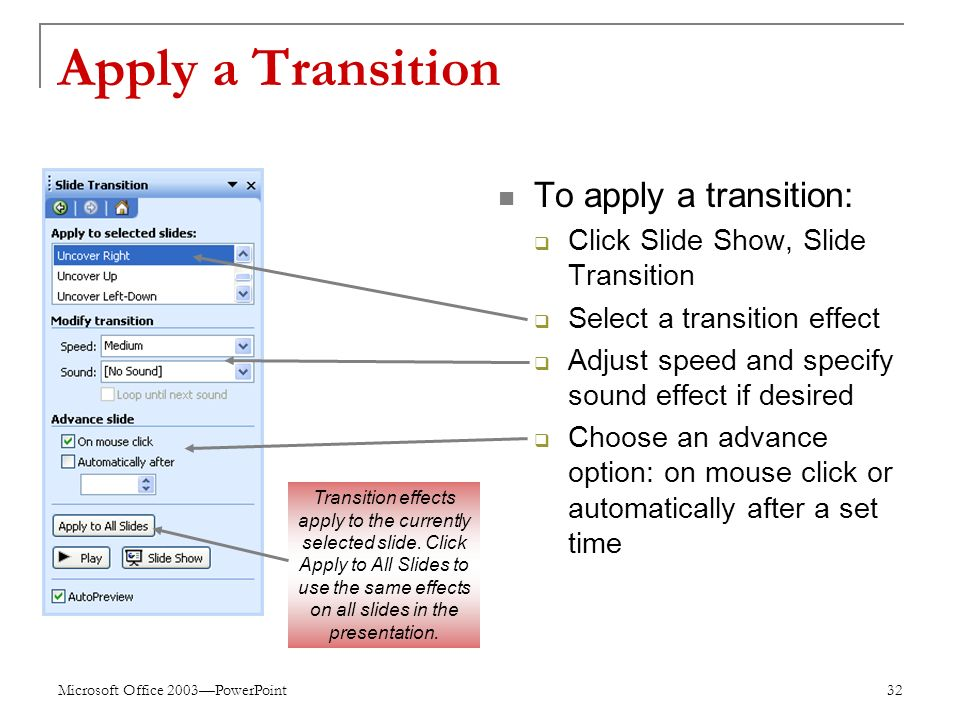 Microsoft Office 2003—PowerPoint 32 Apply a Transition To apply a transition:  Click Slide Show, Slide Transition  Select a transition effect  Adjust speed and specify sound effect if desired  Choose an advance option: on mouse click or automatically after a set time Transition effects apply to the currently selected slide.