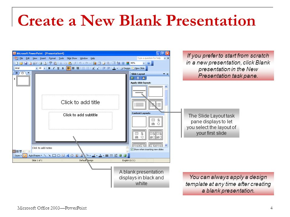 Microsoft Office 2003—PowerPoint 4 Create a New Blank Presentation If you prefer to start from scratch in a new presentation, click Blank presentation in the New Presentation task pane.
