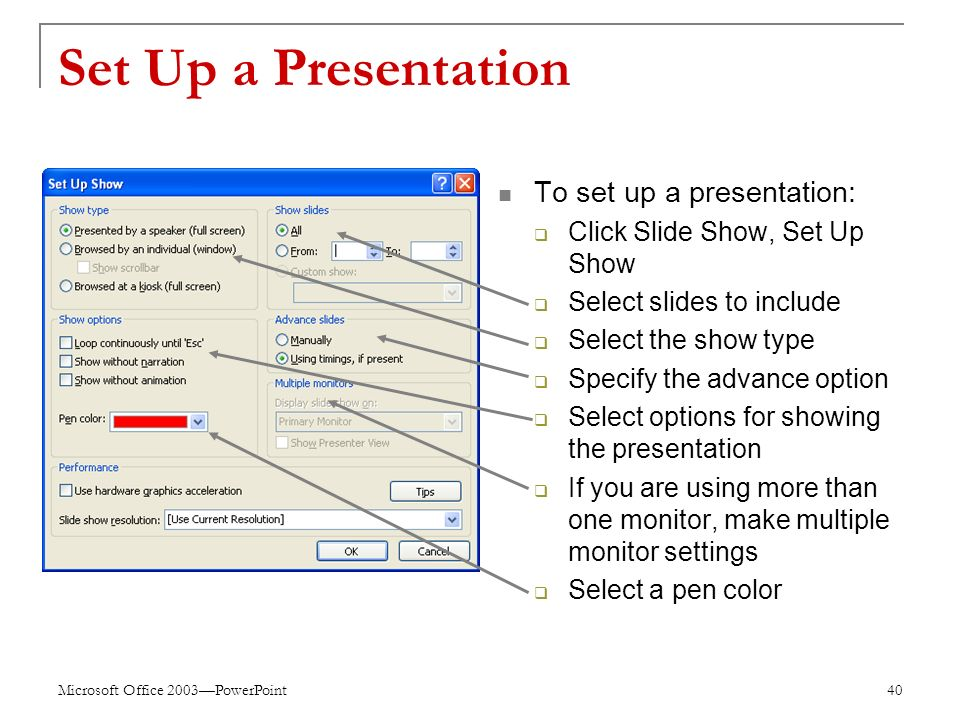 Microsoft Office 2003—PowerPoint 40 Set Up a Presentation To set up a presentation:  Click Slide Show, Set Up Show  Select slides to include  Select the show type  Specify the advance option  Select options for showing the presentation  If you are using more than one monitor, make multiple monitor settings  Select a pen color