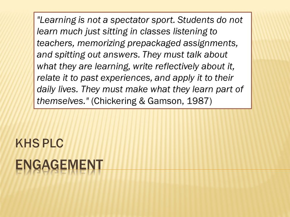 Khs plc learning is not a spectator sport students do not learn 1 khs ccuart Image collections