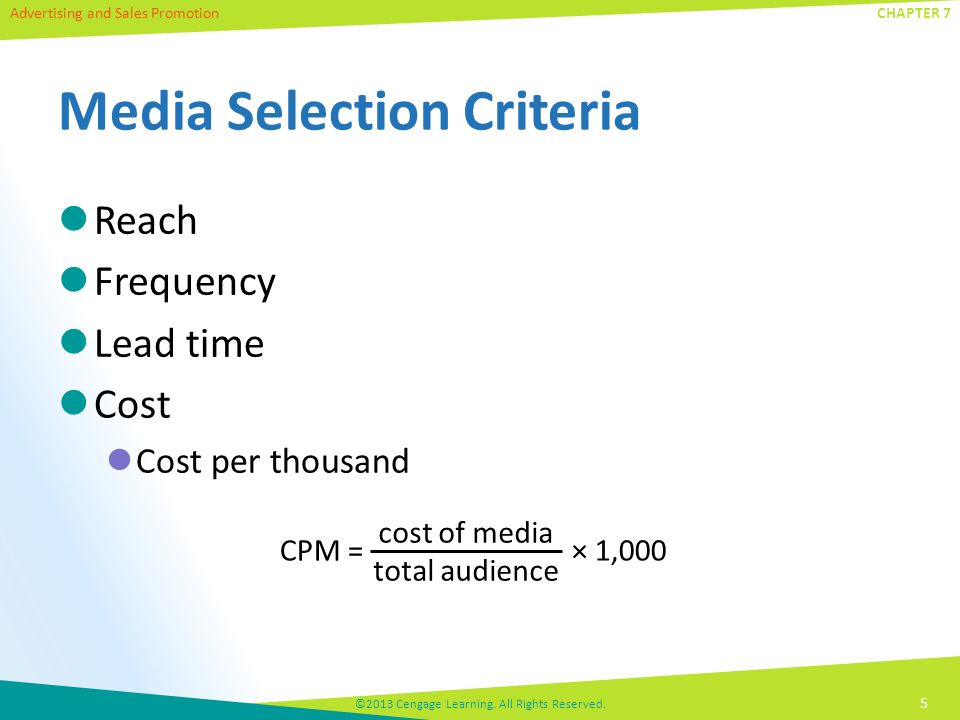 Advertising and Sales Promotion ©2013 Cengage Learning.