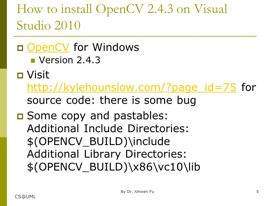 Computing IV Visual C Introduction with OpenCV Example