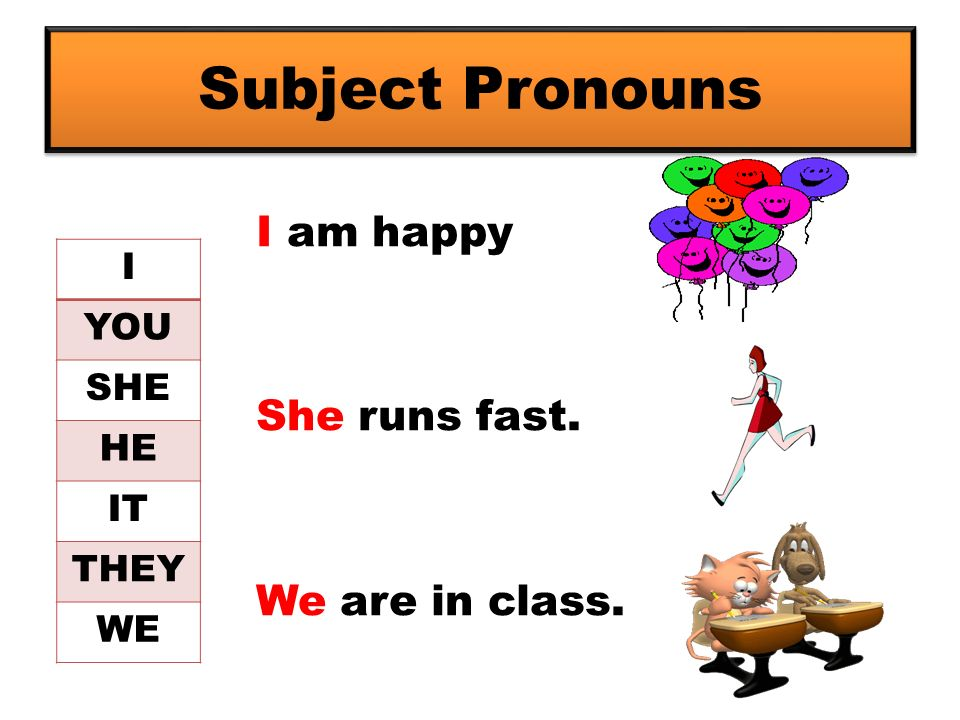 Subject Pronouns I am happy She runs fast. We are in class. I YOU SHE HE IT THEY WE