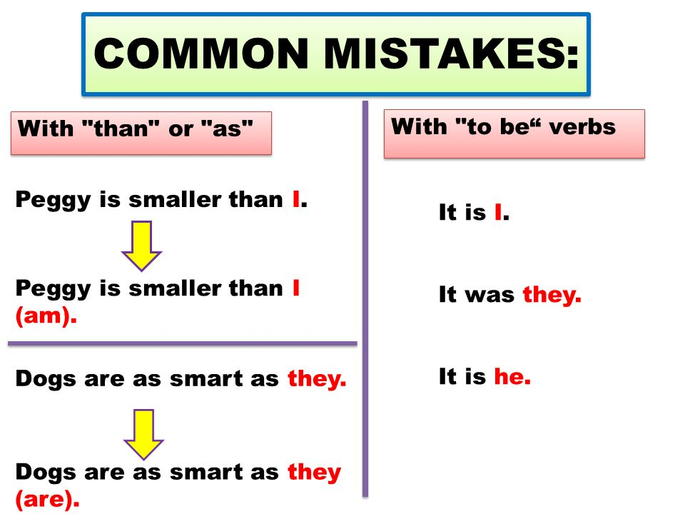 COMMON MISTAKES: With than or as With to be verbs Peggy is smaller than I.