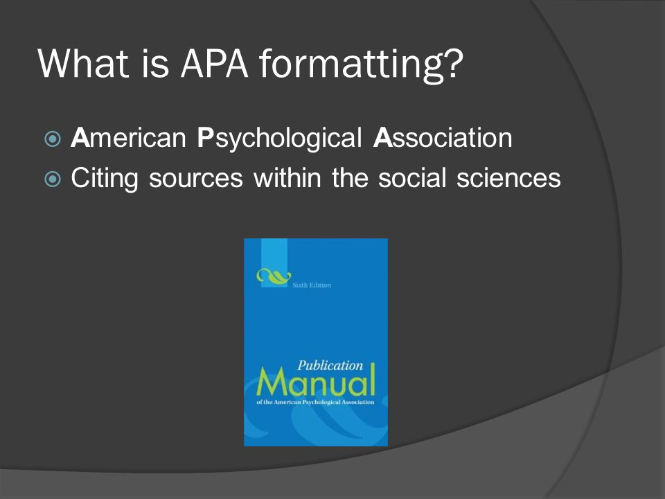 What is APA formatting.