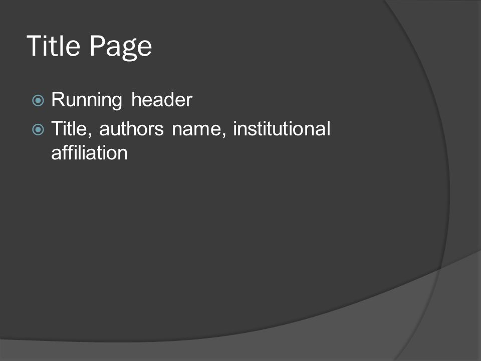 Title Page  Running header  Title, authors name, institutional affiliation