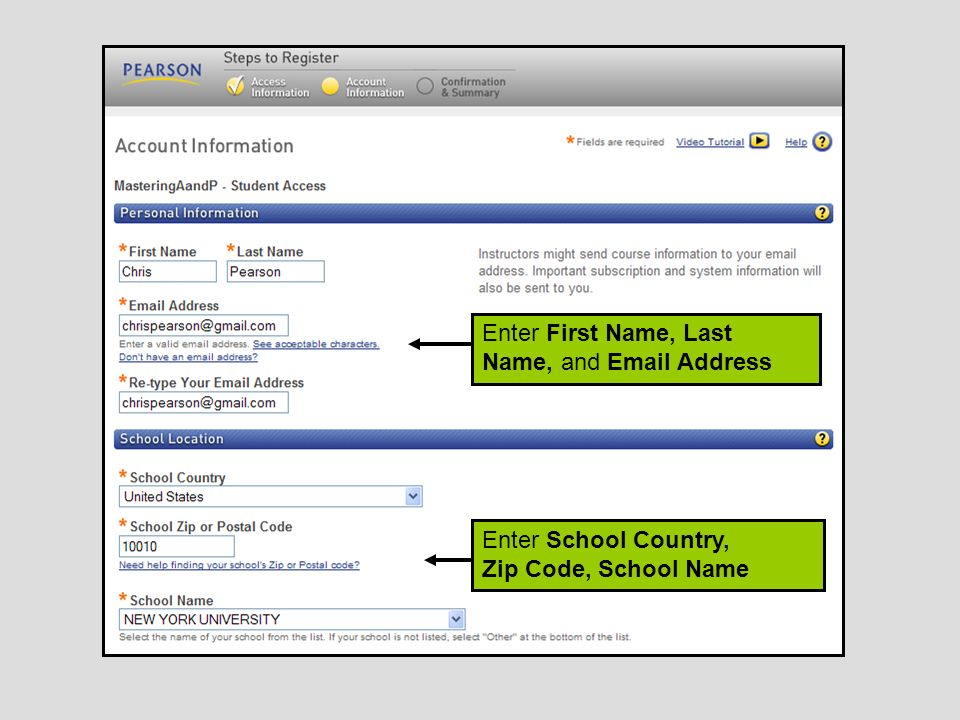 Registering for masteringap ppt download 8 enter first name last name and email address enter school country zip code school name fandeluxe Choice Image