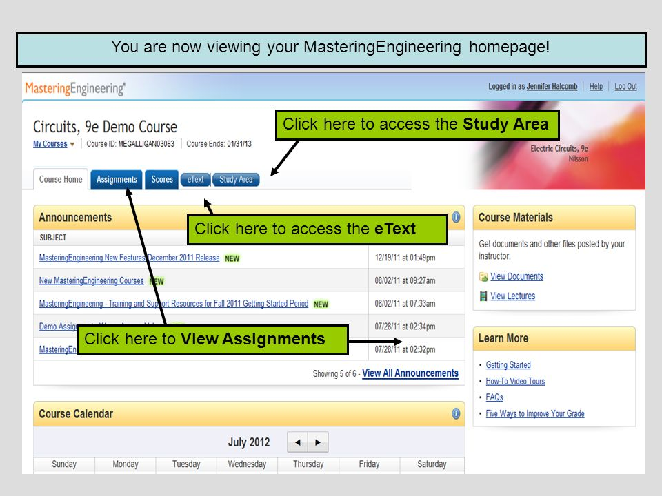 You are now viewing your MasteringEngineering homepage.