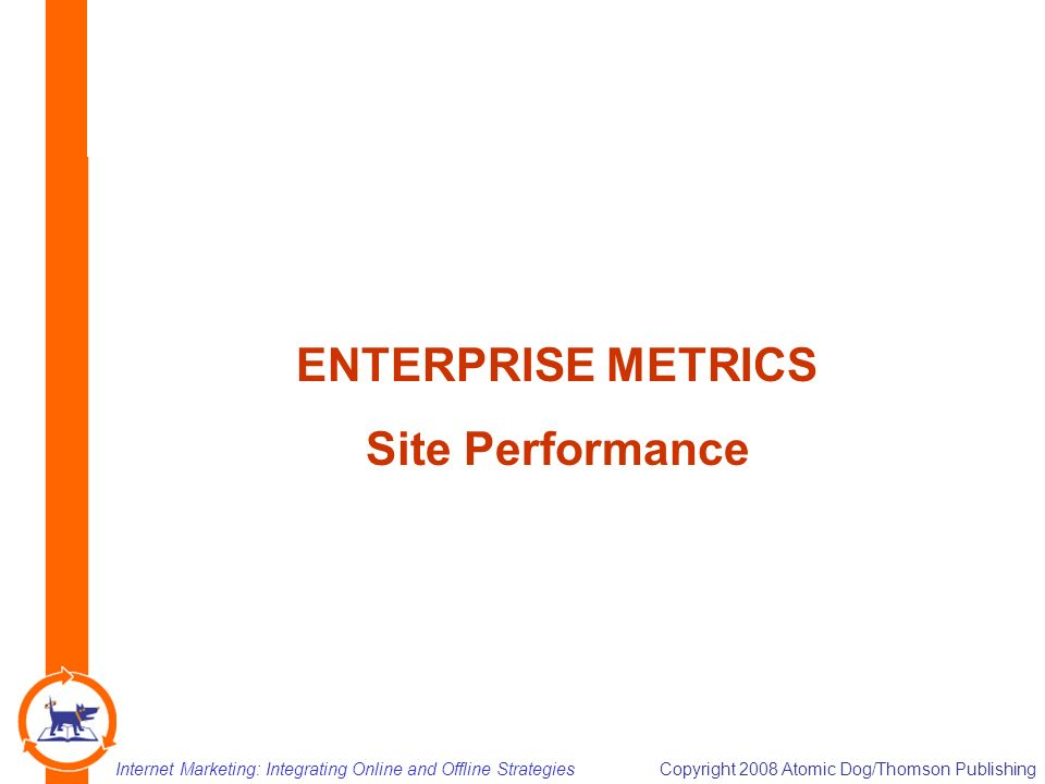 Internet Marketing: Integrating Online and Offline StrategiesCopyright 2008 Atomic Dog/Thomson Publishing 13 ENTERPRISE METRICS Site Performance