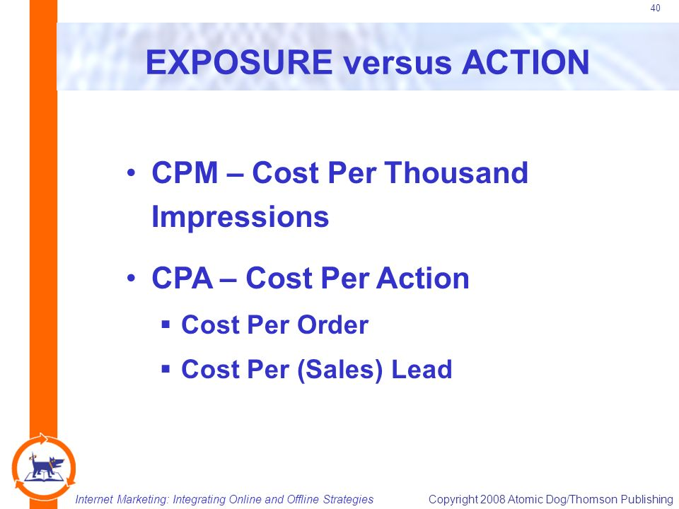 Internet Marketing: Integrating Online and Offline StrategiesCopyright 2008 Atomic Dog/Thomson Publishing 40 EXPOSURE versus ACTION CPM – Cost Per Thousand Impressions CPA – Cost Per Action  Cost Per Order  Cost Per (Sales) Lead