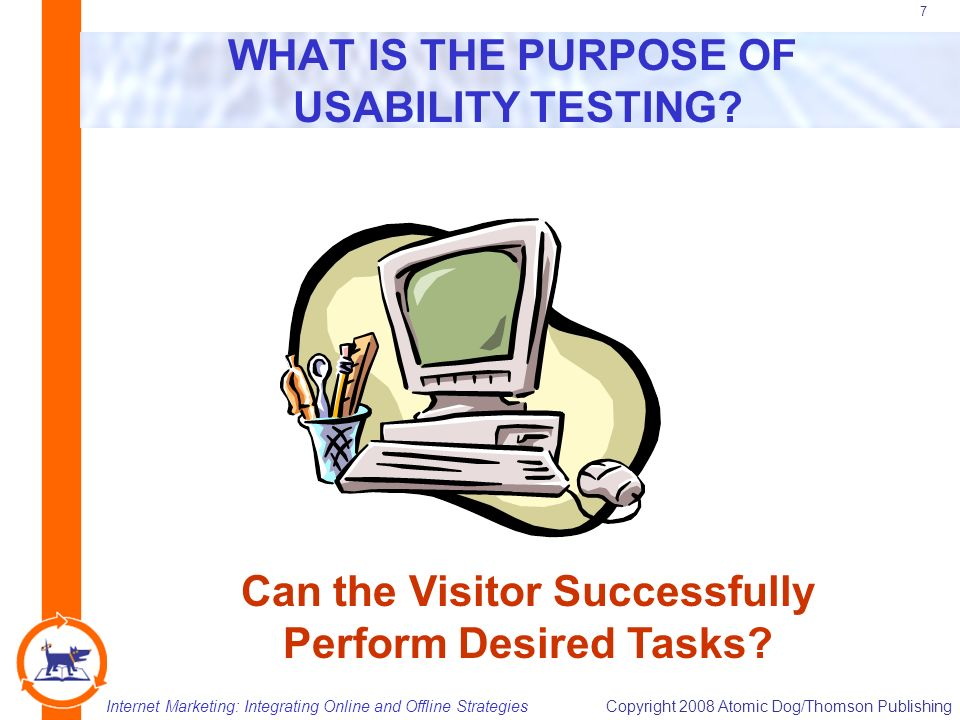 Internet Marketing: Integrating Online and Offline StrategiesCopyright 2008 Atomic Dog/Thomson Publishing 7 WHAT IS THE PURPOSE OF USABILITY TESTING.