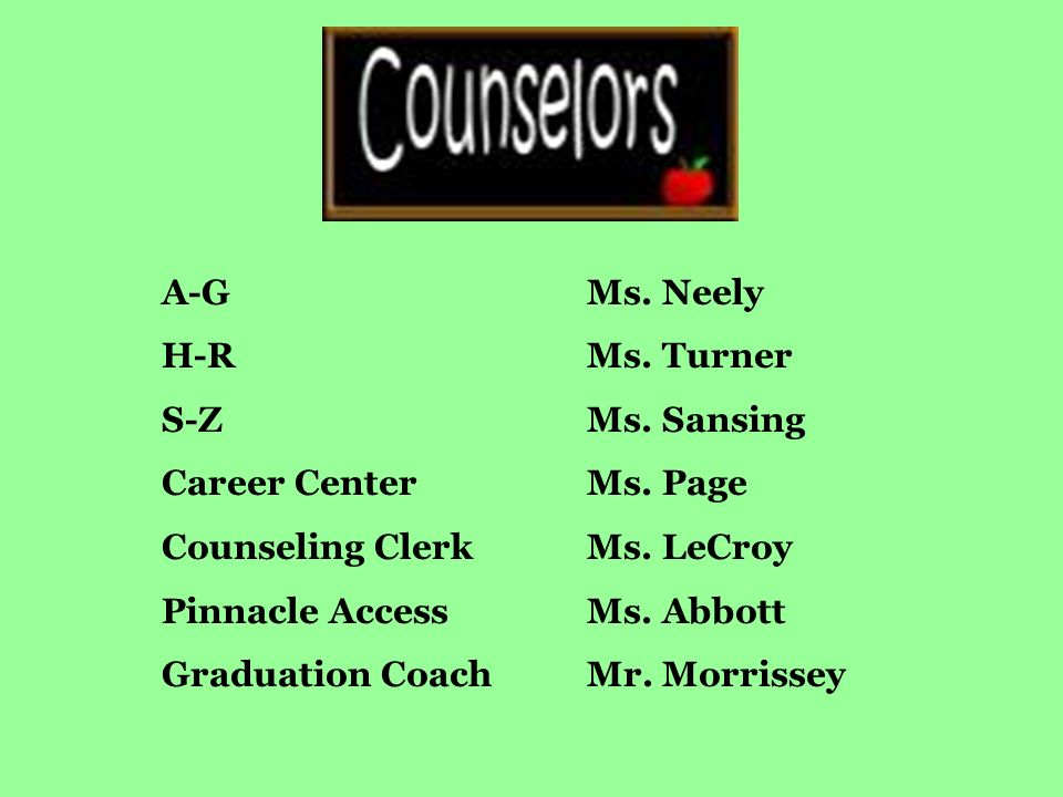 A-GMs. Neely H-RMs. Turner S-ZMs. Sansing Career CenterMs.