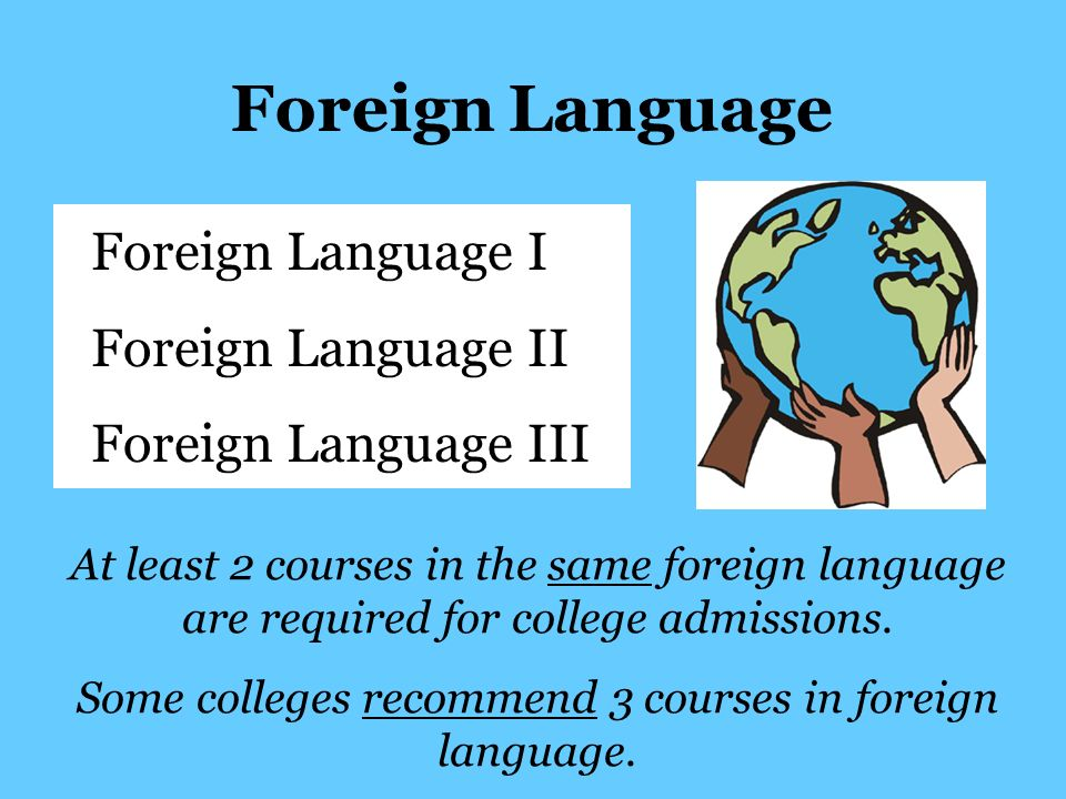 Foreign Language Foreign Language I Foreign Language II Foreign Language III At least 2 courses in the same foreign language are required for college admissions.