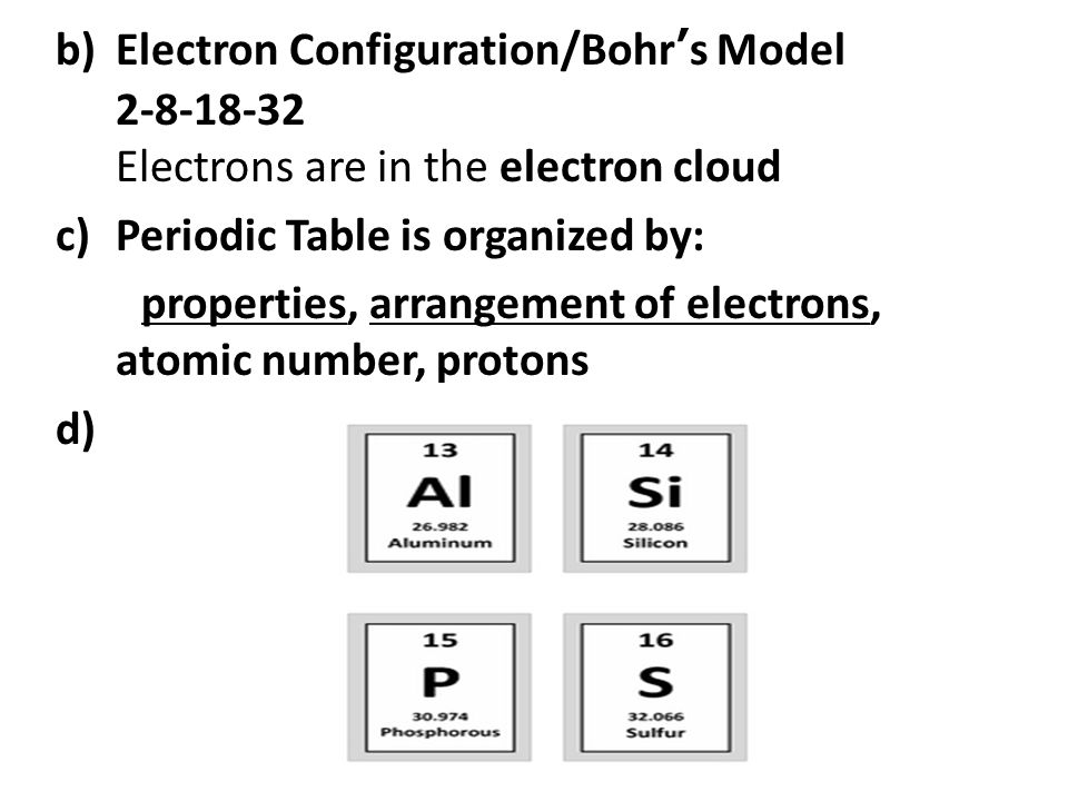 Monday march pick up your textbook and open to ch copy homework 3 belectron configurationbohrs model 2 8 18 32 electrons are in the electron cloud cperiodic table is organized by properties arrangement of electrons urtaz Choice Image