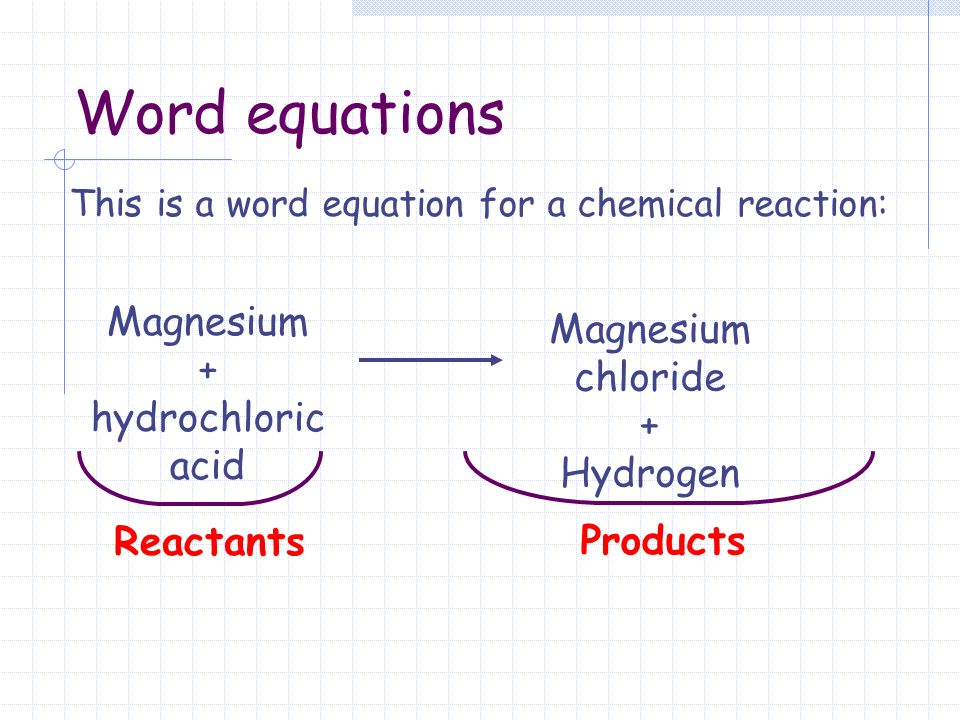 This Is A Word Equation For A Chemical Reaction Reactants Products