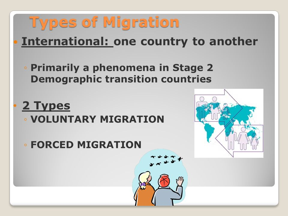 Types of Migration International: one country to another ◦Primarily a phenomena in Stage 2 Demographic transition countries 2 Types ◦VOLUNTARY MIGRATION ◦FORCED MIGRATION