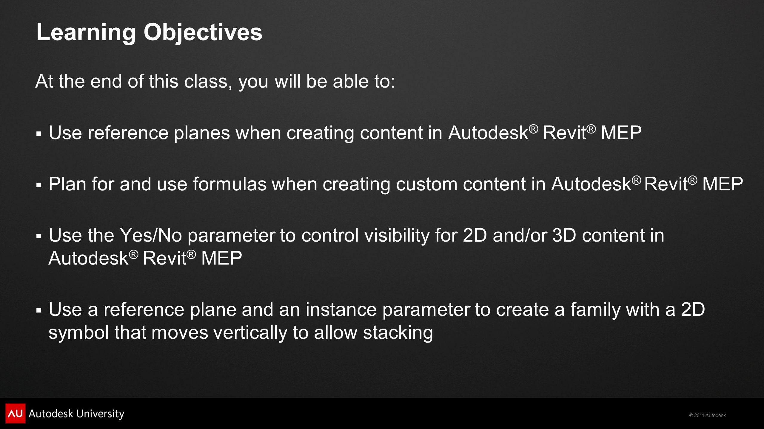 2011 Autodesk Autodesk ® Revit ® MEP Content Creation Lab