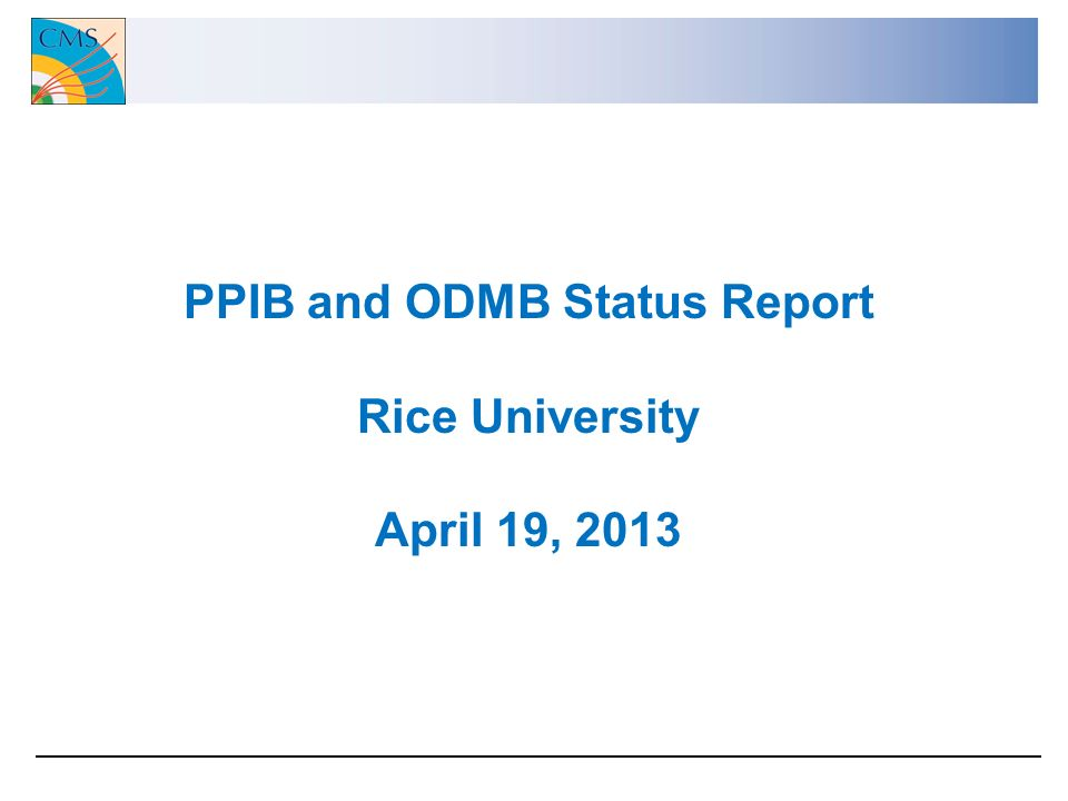 PPIB and ODMB Status Report Rice University April 19, 2013