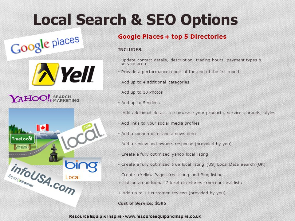 Resource Equip & Inspire - Local Search & SEO Options Google