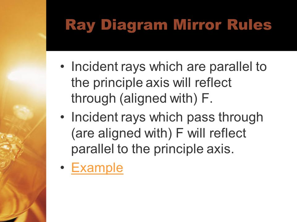 Ray Diagram Mirror Rules Incident rays which are parallel to the principle axis will reflect through (aligned with) F.