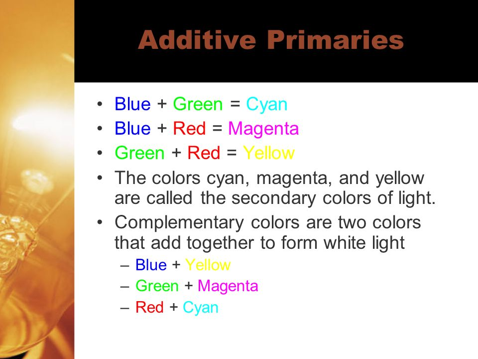 Additive Primaries Blue + Green = Cyan Blue + Red = Magenta Green + Red = Yellow The colors cyan, magenta, and yellow are called the secondary colors of light.