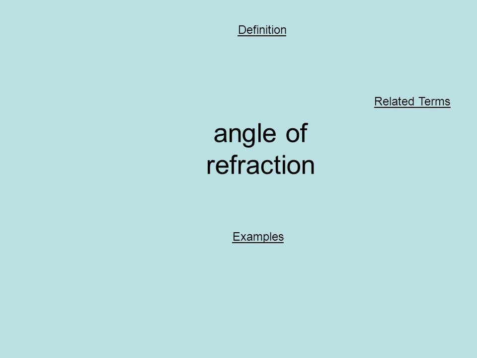 angle of refraction Definition Examples Related Terms