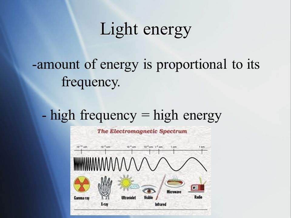 Light energy -amount of energy is proportional to its frequency. - high frequency = high energy
