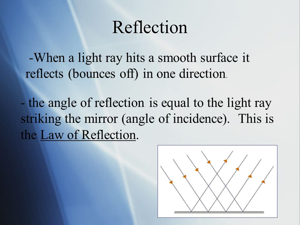 Reflection - the angle of reflection is equal to the light ray striking the mirror (angle of incidence).