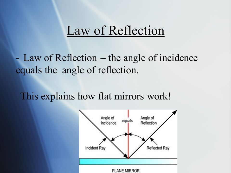 Law of Reflection - Law of Reflection – the angle of incidence equals the angle of reflection.